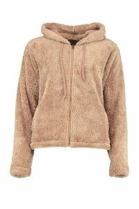 Womens Borg Zip Through Oversized Hoodie - Beige - Xl, Beige