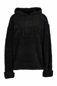 Womens Borg Turn Cuff Oversized Hoodie - black - M, Black