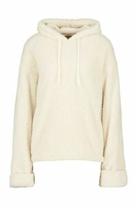 Womens Borg Turn Cuff Oversized Hoodie - white - M, White
