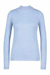 Womens Soft Roll Neck Jumper - blue - M, Blue