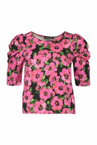 Womens Floral Puff Sleeve Shell Top - Pink - 8, Pink