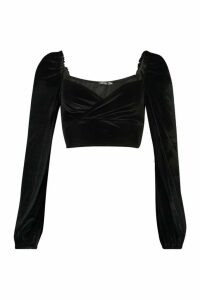 Womens Velvet Wrap Long Sleeve Crop Top - black - 14, Black