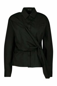 Womens Woven Buckle Wrap Detail Shirt Blouse - black - 14, Black