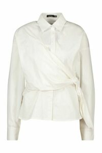 Womens Woven Buckle Wrap Detail Shirt Blouse - white - 12, White