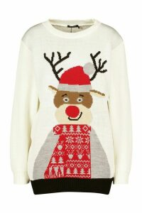 Womens Christmas Reindeer Jumper - white - M, White