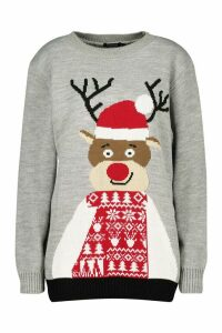 Womens Christmas Reindeer Jumper - grey - M, Grey