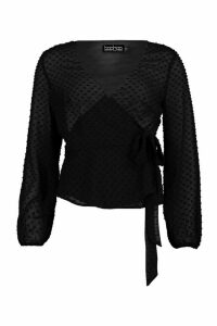 Womens Wrap Over Dobby Mesh Blouse - black - 10, Black