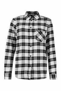 Womens Oversized Boyfriend Check Shirt - black - 14, Black