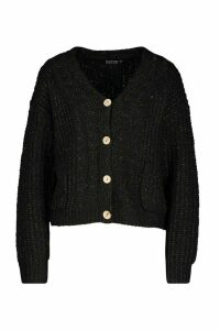 Womens Cable Knit Fisherman Cardigan - black - L, Black