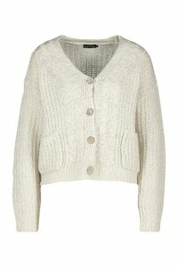 Womens Cable Knit Fisherman Cardigan - white - L, White