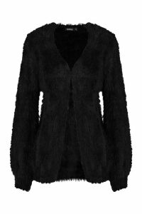 Womens Tie Front Fluffy Knit Crop Cardigan - black - M, Black