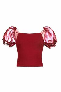 Womens Crepe Square Neck Organza Sleeve Top - red - 12, Red