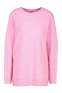 Womens Oversized Batwing Knitted Jumper - Pink - S/M, Pink