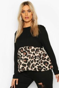 Womens Plus Contrast Leopard Long Sleeve Smock Top - Black - 20, Black