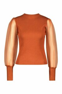 Womens Petite Organza Puff Sleeve Jumper - orange - S, Orange