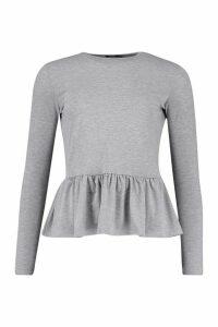 Womens Petite Ruffle Hem Smock Top - grey - 4, Grey