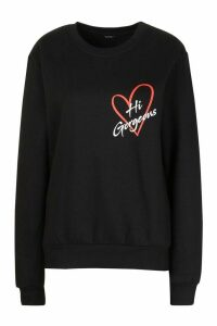 Womens Petite 'Hi Gorgeous' Pocket Print Sweat Top - black - M, Black
