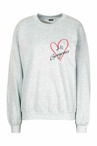 Womens Petite 'Hi Gorgeous' Pocket Print Sweat Top - grey - L, Grey