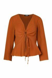 Womens Petite Ruched Detail Woven Top - orange - 14, Orange