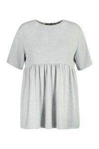 Womens Plus Jersey Frill Hem Smock Top - grey - 20, Grey