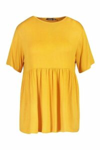 Womens Plus Jersey Frill Hem Smock Top - yellow - 20, Yellow