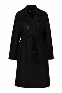 Womens Petite Double Breasted Belted Wool Look Coat - black - 6, Black