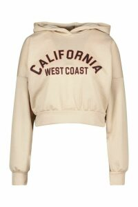 Womens California Slogan Crop Hoody - beige - 8, Beige