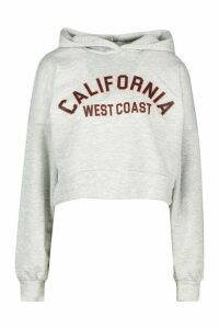 Womens California Slogan Crop Hoody - grey - 12, Grey