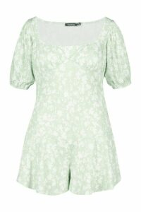 Womens Plus Recycled Floral Puff Sleeve Playsuit - Green - 20, Green