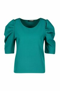 Woven Puff Sleeve Shell Top - Green - 12, Green
