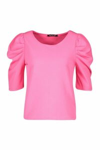 Woven Puff Sleeve Shell Top - Pink - 8, Pink
