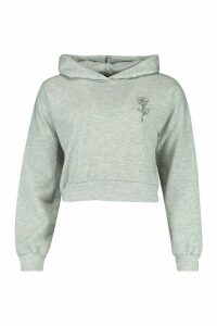 Rose Pocket Print Crop Hoody - grey - 12, Grey