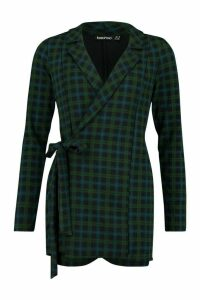 Womens Tartan Check Tailored Jersey Playsuit - green - 16, Green