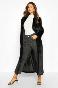 Womens Longline Faux Fur Coat - black - 14, Black