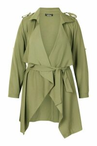 Womens Plus Waterfall Military Detail Belted Jacket - green - 22, Green