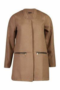 Womens Zip Pocket Wool Look Coat - beige - L, Beige
