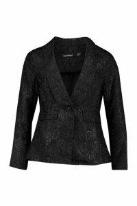 Womens Jacquard Blazer - Black - 10, Black