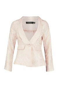Womens Jacquard Blazer - Pink - 8, Pink