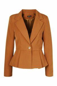 Peplum Button Front Blazer - beige - 8, Beige