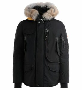 Parajumpers Right Hand Jacket In Black Oxford Nylon With Fur-lined Hood