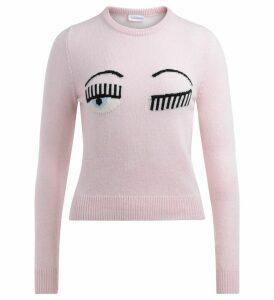 Chiara Ferragni Sweater Flirting Eye In Wool And Pink Cashmere
