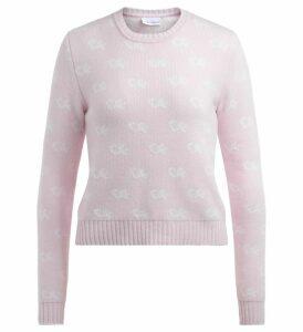 Chiara Ferragni Sweater In Pink Merino Wool With All Over Logo