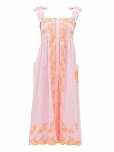 Juliet Dunn - Tied-shoulder Mirror-embroidered Cotton Midi Dress - Womens - Pink Multi
