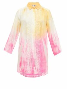 Juliet Dunn - Oversized Embroidered Tie-dye Silk Shirt - Womens - Yellow Multi