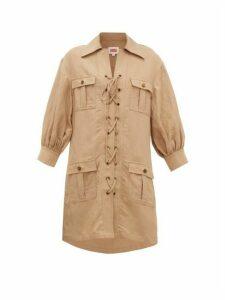 Solid & Striped - Safari Lace-up Linen-blend Dress - Womens - Light Brown