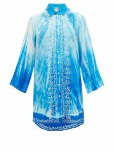 Juliet Dunn - Oversized Tie-dye Silk Shirt - Womens - Blue Multi