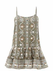 Juliet Dunn - Nomad Mirror-embroidered Cotton Dress - Womens - Khaki Print