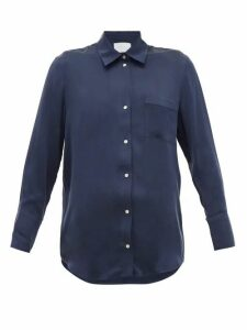 Asceno - Milan Silk-satin Shirt - Womens - Navy