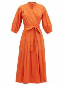 Three Graces London - Delmare Cotton-poplin Wrap Dress - Womens - Orange