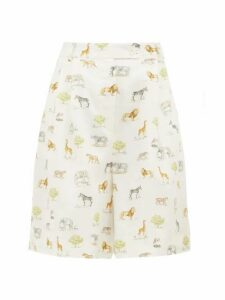 Emilia Wickstead - Reggie High-rise Animal-print Linen Shorts - Womens - Cream Print